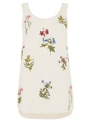 Oasis Floral Embroidered Vest Off White