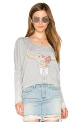 Chaser Floral Cow Skull Tee Gray