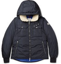 Moncler Darwin Shearling Trimmed Quilted Shell Hooded Down Jacket Navy