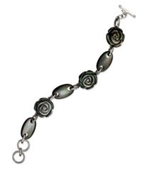 Macy's Sterling Silver Bracelet Cultured Tahitian Mother Of Pearl Flower Bracelet 20Mm Gray