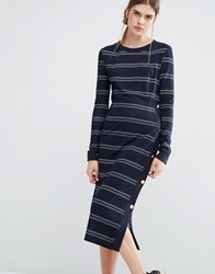 Baum Und Pferdgarten Jana Jersey Midi Dress In Stripe With Button Detail Blue