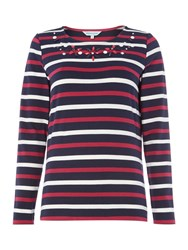 Dickins And Jones Embellished Breton Top Magenta