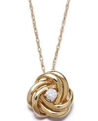 Wrapped In Love Diamond Love Knot Pendant Necklace In 14K Gold 1 10 Ct. T.W