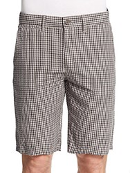Saks Fifth Avenue Plaid Seersucker Shorts Olive
