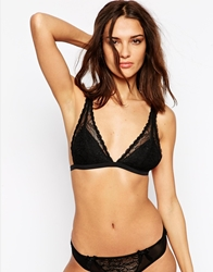 Monki Luciana Soft Triangle Lace Bra Black