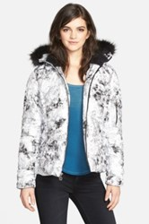 Betsey Johnson Detachable Faux Fur Printed Puffer Jacket White