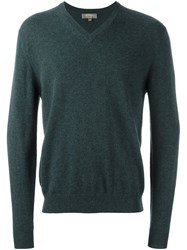 N.Peal 'The Burlington' V Neck Pullover Green