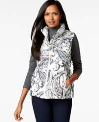 Charter Club Quilted Vest Paisley Print Vintage Cream