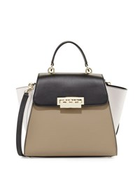 Zac Posen Eartha Colorblock Leather Shoulder Bag Clay Black Light Gray