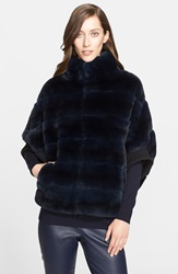 St. John Sheared Rabbit Fur Jacket Dark Navy