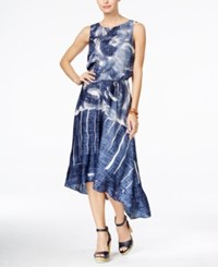 Tommy Hilfiger Printed Chambray High Low Dress Blue