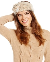 David And Young Ombre Feather Yarn Sequin Rosette Headwrap Camel