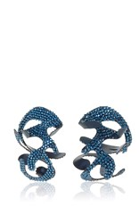 Rosie Assoulin Roxanne For Swarovski Large Sculptural Earrings Blue