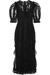 Dolce And Gabbana Ruffled Lace Tulle Midi Dress Black