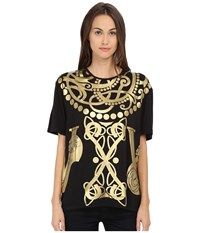 Versace Short Sleeve Foil Print T Shirt Nero Women's T Shirt Black