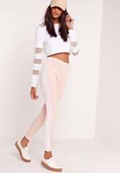 Missguided Scuba Panel Leggings Nude Beige