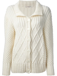 Yves Saint Laurent Vintage Aran Knit Cardigan White