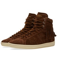Saint Laurent Fringe High Top Sneaker Brown