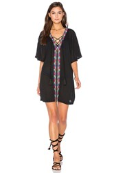 Piper Xico Beaded Lace Up Dress Black