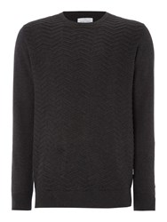 Peter Werth Men's Buddy Zig Zag Knitted Cotton Crew Neck Charcoal