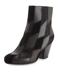 Neiman Marcus Juicy Patchwork Leather And Suede Bootie Black Blac