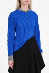 J.W.Anderson Asymmetric Zip Up Cardigan Blue