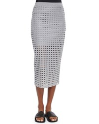 Alexander Wang Netted Long Fitted Jersey Skirt Heather Gray