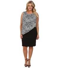 Dkny Plus Size Lightweight Ponte Dress W Painted Animal Print Overlay Ivory Women's Dress White