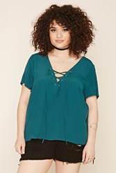 Forever 21 Plus Size Chiffon Lace Up Top