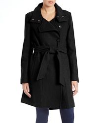 Kenneth Cole Reaction Belted Wool Blend Trench Coat Black