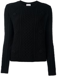 Red Valentino Cable Knit Sweater Black