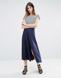 Warehouse Full Midi Skirt Navy