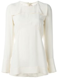Marni Gathered Bib Blouse White