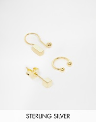Asos Gold Plated Sterling Silver Cube Ear Cuff Pack
