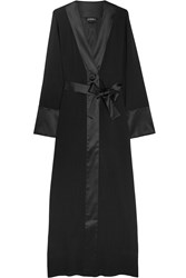 La Perla Edenic Silk Satin Trimmed Stretch Silk Georgette Robe Black