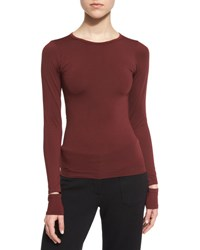 Helmut Lang Fitted Slit Cuff Stretch Jersey Tee Pomegranate