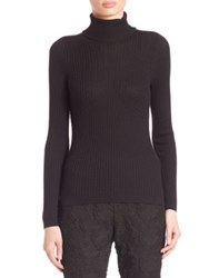 St. John Wool Silk And Cashmere Cable Knit Turtleneck Sweater Caviar Navy