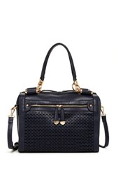 Urban Expressions Mattie Perforated Vegan Leather Satchel Blue