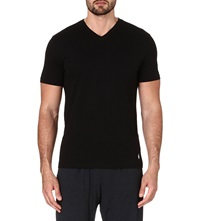 Ralph Lauren Pack Of Two V Neck Ribbed Cotton T Shirts Black