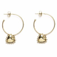 Agnes De Verneuil Gold Hoop Earrings Heart