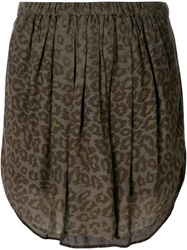Raquel Allegra Leopard Print Short Skirt Green