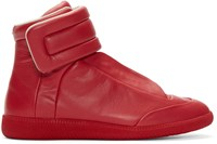 Maison Martin Margiela Red Leather Future High Top Sneakers