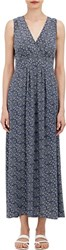Barneys New York Reverse Charmeuse Maxi Dress Blue