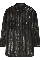 Kate Moss For Equipment Daddy Metallic Striped Silk Chiffon Shirt Black Metallic