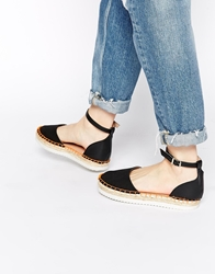 Miss Kg Dominique 2 Part Espadrille Flatform Shoes Black