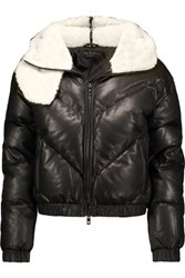Rag And Bone Compass Shearling Trimmed Quilted Leather Hooded Coat Black
