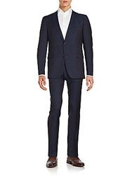 Sand Textured Virgin Wool Suit Navy