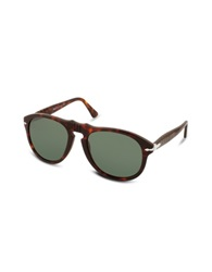 Persol Arrow Signature Aviator Plastic Sunglasses Dark Tortoise Green