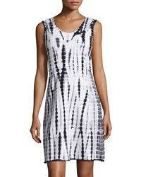 Marc Ny Performance Tie Dye Hooded Racerback Dress Black White