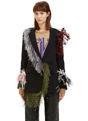 Christopher Kane Oversized Feather Blazer Jacket Black